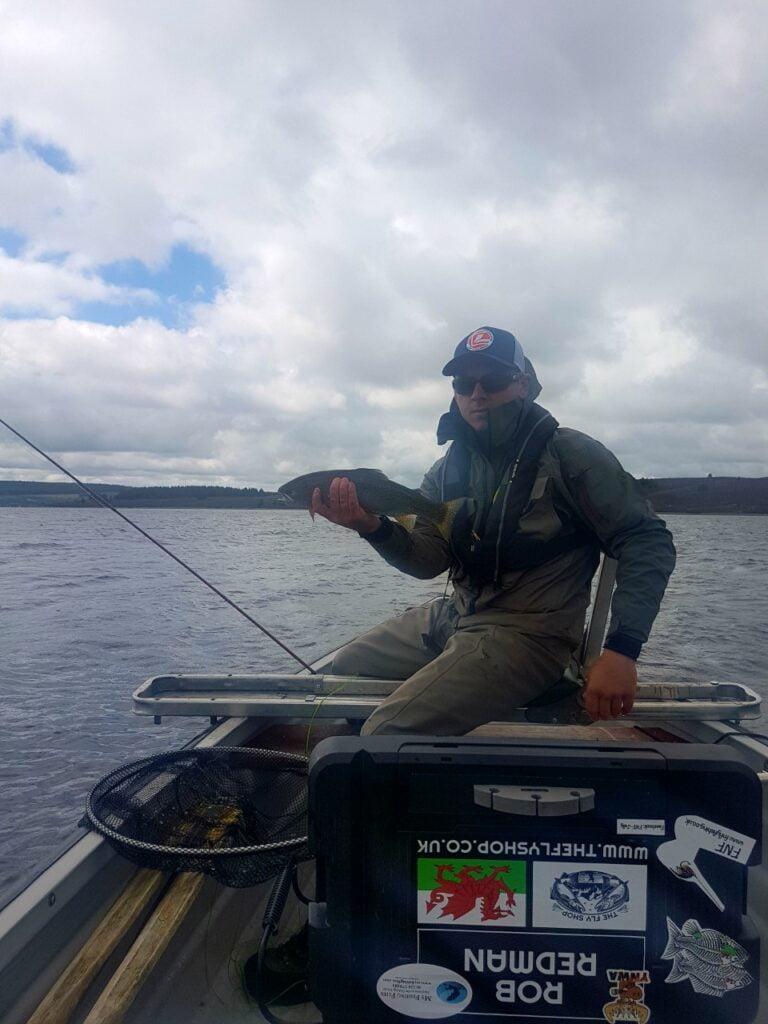 rob with a fine rainbow trout caught on llyn brenig