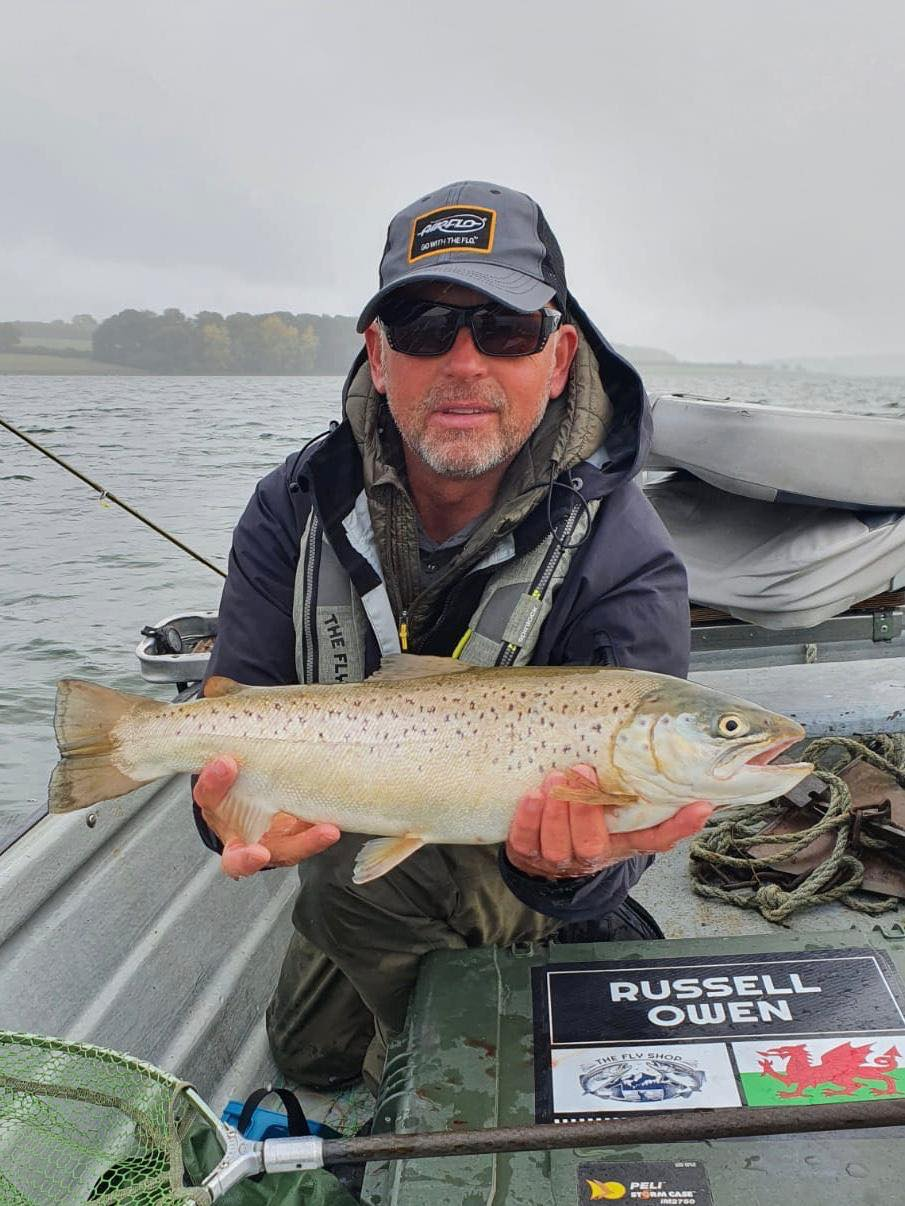 Russ Owen with a 6 pound brown taken on a fly shop candy boobie from Rutland Water