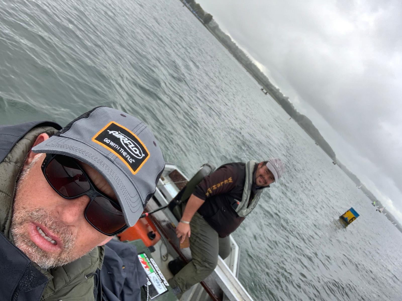 Russ Owen in a boat at Rutland water