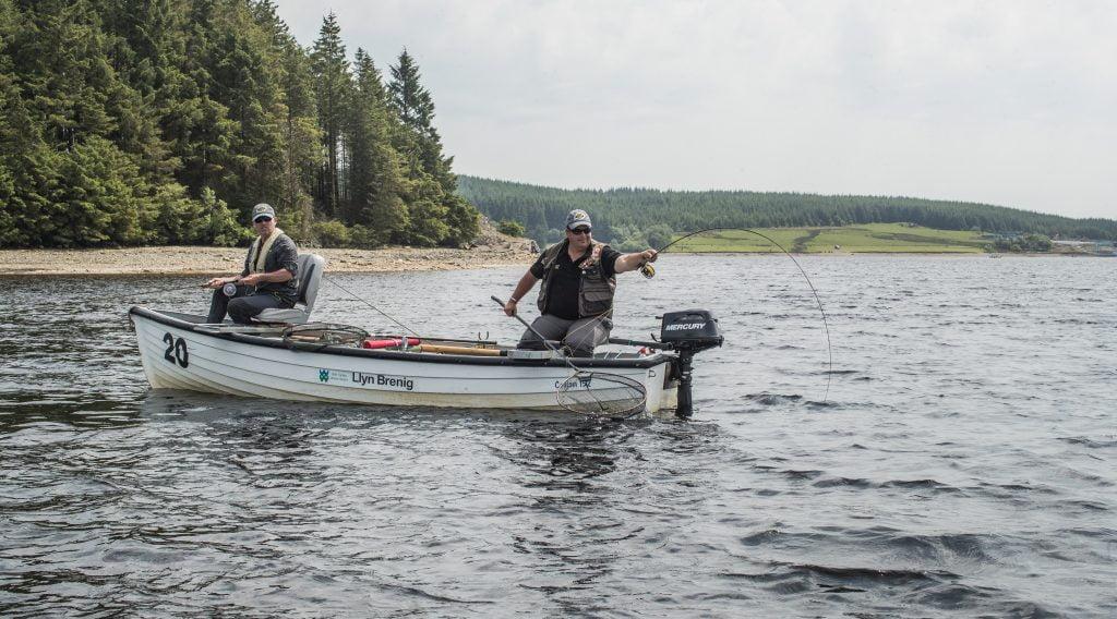former world champion Russ Owen and Gazza Dixon enjoy a day on dry Fly fishing on llyn Brenig