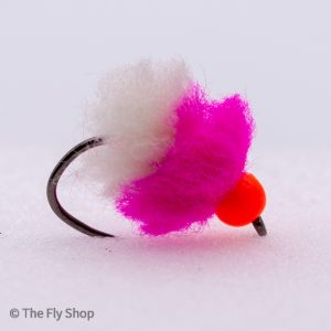 The Pink Lady Eggstacy Hot Head Egg. The egg range of flies really are deadly. The look changes completely when wet and the fish find these flies absolutely irresistible. Mostly fished static under an indicator but can also work well fished on the point as part of a team of buzzers.