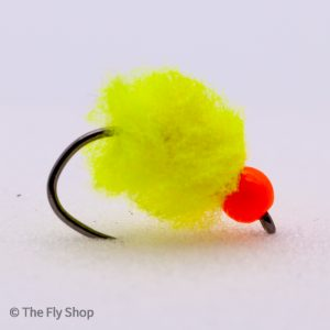 Fl Yellow Eggstacy Hot Head Egg. The egg range of flies really are deadly. The look changes completely when wet and the fish find these flies absolutely irresistible. Mostly fished static under an indicator but can also work well fished on the point as part of a team of buzzers.