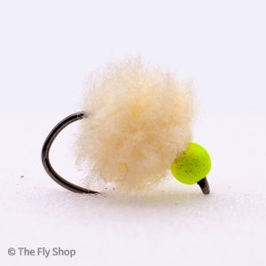 Flu Cheese Eggstacy Hot Head Egg. The egg range of flies really are deadly. The look changes completely when wet and the fish find these flies absolutely irresistible. Mostly fished static under an indicator but can also work well fished on the point as part of a team of buzzers.