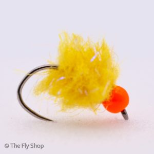 Sunburst UV Eggstacy Hot Head Egg. The egg range of flies really are deadly. The look changes completely when wet and the fish find these flies absolutely irresistible. Mostly fished static under an indicator but can also work well fished on the point as part of a team of buzzers.