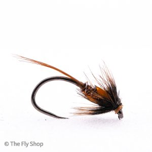 The Barbless Brown Jungle Cock Flash Back Cruncher is a great pattern for imitating corixa or pin fry.