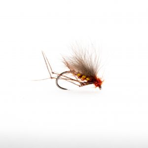 Fiery Brown Flatback Hopper with Gold Holographic Rib represents a range of midges and terrestrials which are always on the water throughout the year. This is also an excellent fly for when the sedges are on the water. One of my favourite middle dropper dry flies. Deadly on small waters in size 14 great for skating in the edges just like the adult sedge.