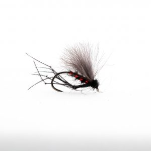 Black Flat Back Hopper Red Holo Ribrepresents a range of midges and terrestrials which are always on the water throughout the year.