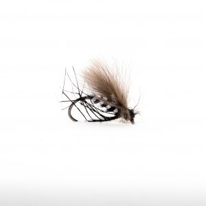 Black Flat Back Hopper Silver Holographic Rib this is a great terrestrial pattern and general suggestive dry fly. It covers a wide range of terrestrial insects and midges that are found on our still waters. The silver holographic ribs gives the added attraction from below.