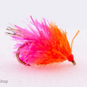 florescent orange and pink blob with sparkler tail also known as a smelly blob scaled