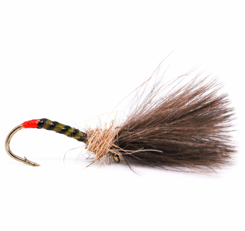 Fly Fishing Trout Flies 3x sz 10 Red Butt Claret Hopper